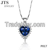 Royalblue Zircon Heart Shape Pendant Necklace 18K Gold Copper Jewelry