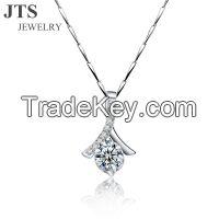 18K White Gold Shinning Diamond Pendants White CZ Fashion Jewelry