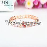 18K Rose Gold Plated Copper Bracelet Bangle CZ Jewelry