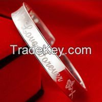 Engraved Silver Plated Bracelet Bangle Women Engagement Copper Jewelry