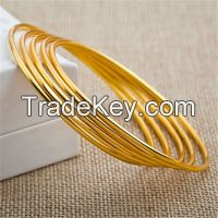 24K Gold Plated Round Bangle Bracelet Women Copper Brass Jewelry
