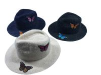 butterfly badge knitted fedora hat