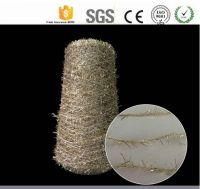 50% Polyester, 50% gold lurex Feather yarn