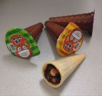 ice cream chocolate biscuit cone in pvc cup