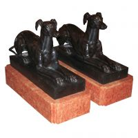 Pair of Bronze Whippets on Marble Bases