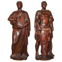 Pair of Carved Walnut Figures