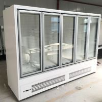 Supermarket commercial upright freezer glass door refrigerator