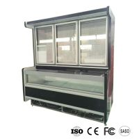 Comnined island freezer refrigerator top fidge bottom island freezer