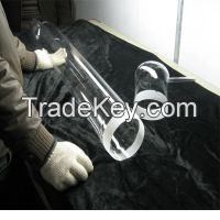 clear large diameter quartz tube for furnace with flange