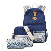 New Design  Personality Style Canvas Backpack Single Shoulder Bag  Wallet Bag 3 pieces Suit
