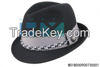 high quality 100%woolfelt men classic black fedora hat