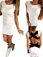 Sexy White Black Bandage Bodycon Dress