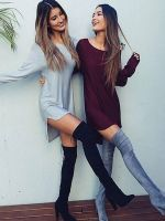 3 Coklors Women Long Sleeve Dress Casual Dress