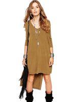 Fashion Khaki Women Long Sleeve Dress