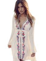 White Women Long Sleeve Beach Dress Bohemian Dresses