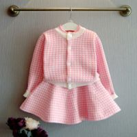 Girls 100% Polyester Round Neck and Long Sleeve with Check Pattern Cardigan/Skirt