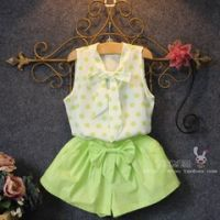 Girl's 100% Polyester Woven blouse/Pants Set