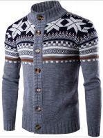 Men's 70% Acrylic 30% Wool knitted Jacquard Cardigan