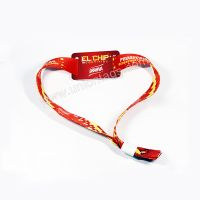 Customized logo print RFID woven fabric wristbands for event