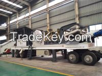 Tyre type mobile crushing station for railway