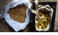 gold bars, nuggets , gold dust