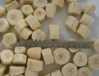 IQF Frozen style banana cuts cubes