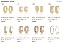 Wholesale 18k Gold Plated Clip On Earrings Small Large Circle Hoop CC Earrings Women Girls Clip Earrings