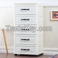 European Style Fashion Plastic Drawer Cabinet Bedroom Plastic Wardrobe