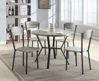 5pc Round Dining Table & Chair