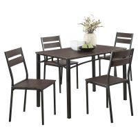 5-Piece Metal And Wood Dining Table Set In Antique Brown