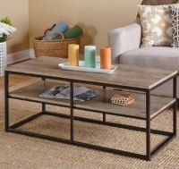 Coffee Table with 2 Shelves and Black Metal Frame