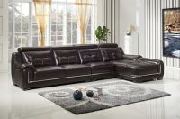Living Room Leather Sofa Set Brown and Black