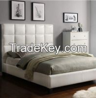 King-Sized Upholstered Bonded Leather Bed