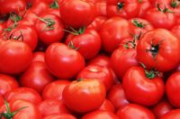 Fresh organic tomatoes, vegetables, fruits, salad, Green leaves, Agriculture