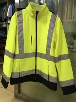 Mens safety jacket hi vis wear softshell jacket industrial clothing