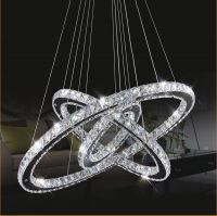 Remote control dimmable led pendant ceiling ring luxury crystal pendant chandelier lighting light lamp