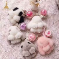 White Bunny Plush Keyring with Preserved Flowers