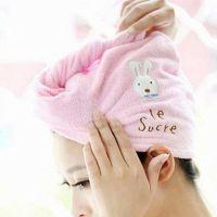 Cute hair Soft microfiber towel solid fast hair dry hat women ladies Girls CAP bath accessories dried hat
