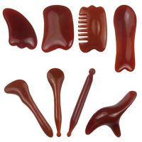 Sell 8pcs Chinese Gua Sha Scraping Massage Tool Hand Made Buffalo Horn Guasha Scraper for Physical Trigger Point Therapy Facial Ankerc Neck Mucle
