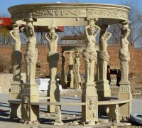 Beautiful hand carved natural stone gazebo