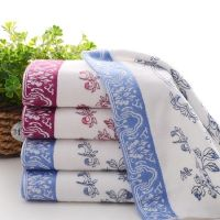 Chinese Style Cyan Flowers Porcelain Bathroom Face Towel 100%cotton Soft Water Beach Towel