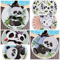 Summer Circle Thick Microfiber Round Beach Towel Shower Bath Towels Cartoon Panda Print Bohemian Cute