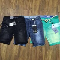 MENS SHORTS COTTON JEANS PIGMENT DYED MONKEY WASHED
