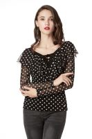 Polka Dot Elegant Blouses for Women , Transparent Long Sleeve and Deep V-Neck Sexy Tops with Loose Ruffle Naturally Falling