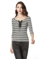 Striped Jersey Top and 3/4 Sleeve Shirts for Women, Round Neck with Eyelet Placket Causual Basic T Shirts