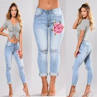 Denim trousers for women with high stretch embroidery and torn holes