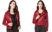 Faux Leather Pu Jacket for Women , Slim Tailoring Short Moto Biker Jackets , Zip Up Long Sleeve Winter Coat