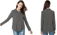 Women Long Sleeve Casual Stripe Blouse Shirts