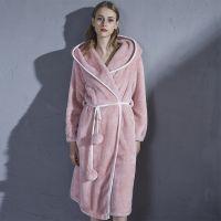 Winter Hooded Pink Flannel Female Loungewear Elegant Sleepwear Luxury Robe Women