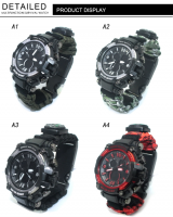 Laser logo outdoor paracord watch compass tool box thermometer